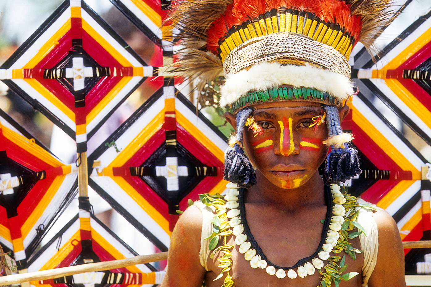 Boy in tribal dress at the Highland Show in Goroka, PNG