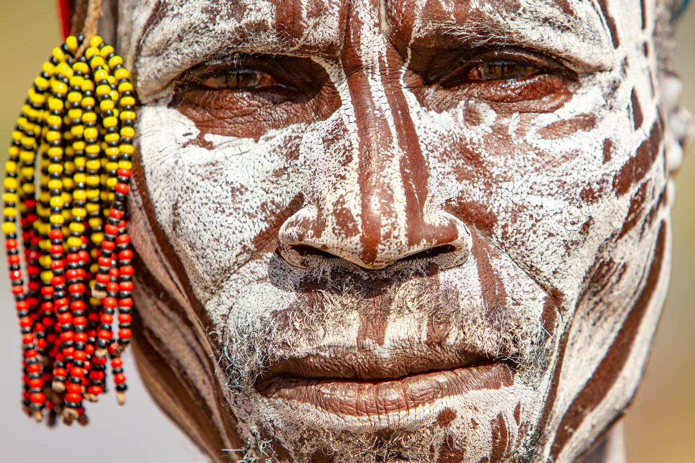 Karo tribesman on the Omo River, Ethiopia
