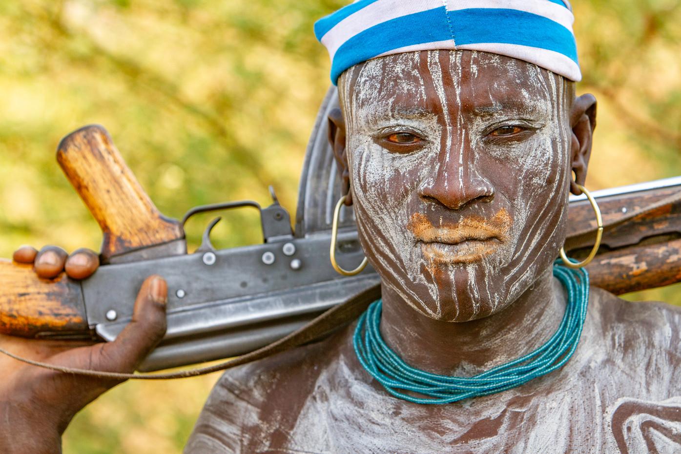Mursi tribesman in the Omo Valley, Ethiopia