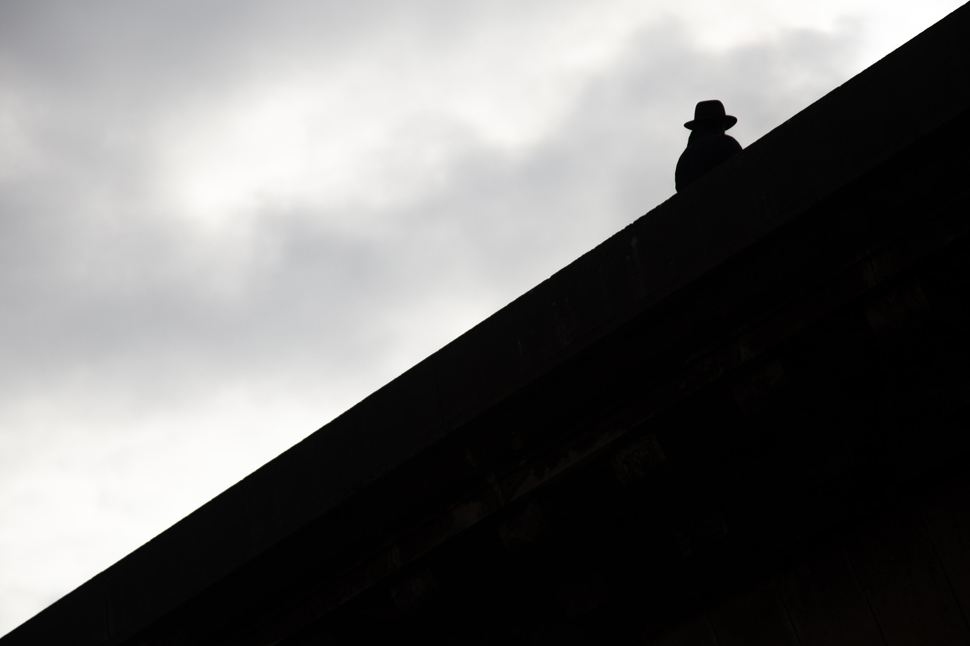 Silhouette of a man on the Alexander the III Bridge in Paris, France