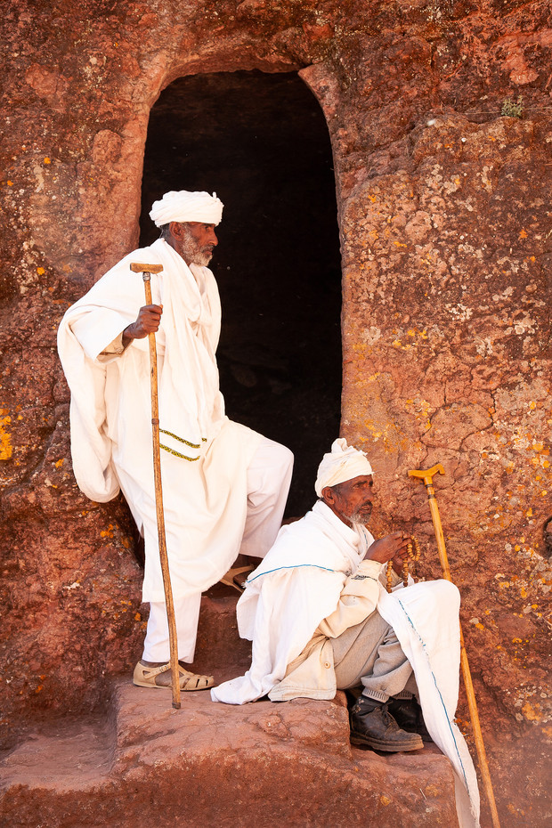 Priests in the rock-hewn churches of Lalibela, Ethiopia