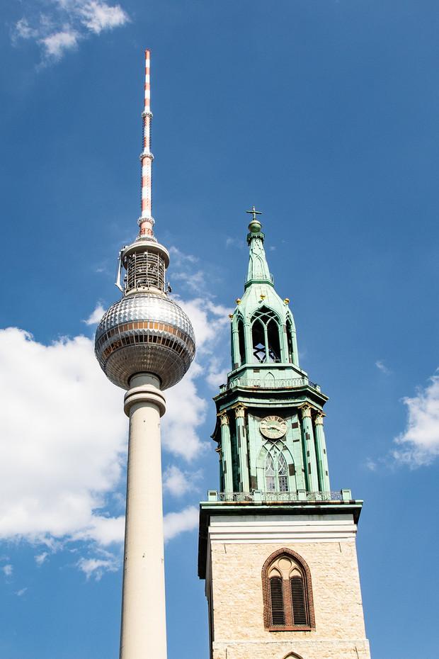 Alexenderplatz Tower & St Mary's Church in Berlin, Germany