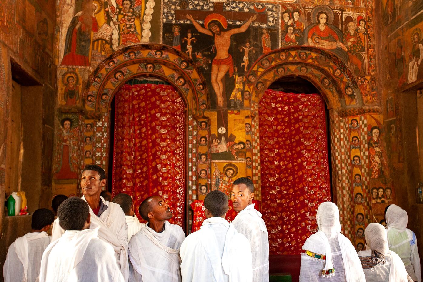 Pilgrims in Church in Gondar, Ethiopia