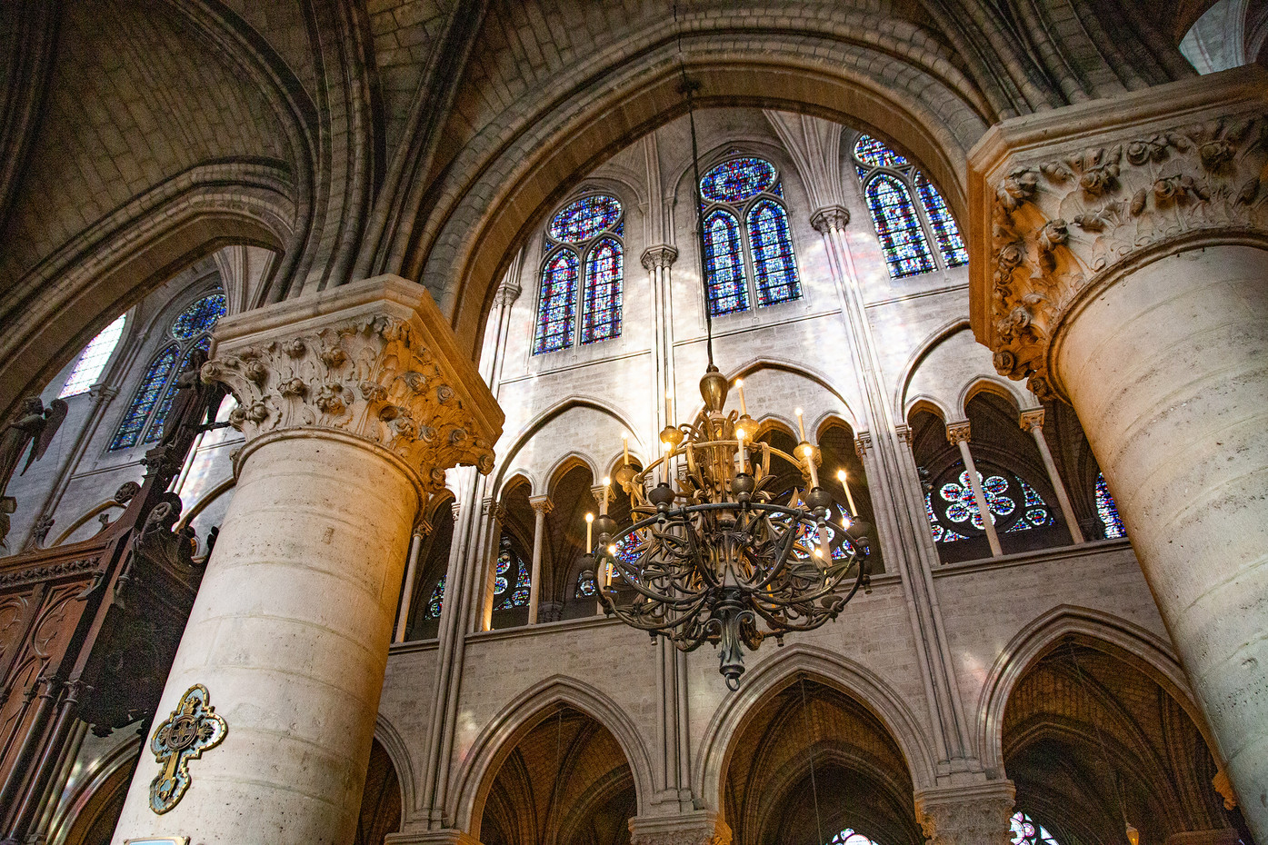 Inside the Notre Dame Cathedral in Paris, France