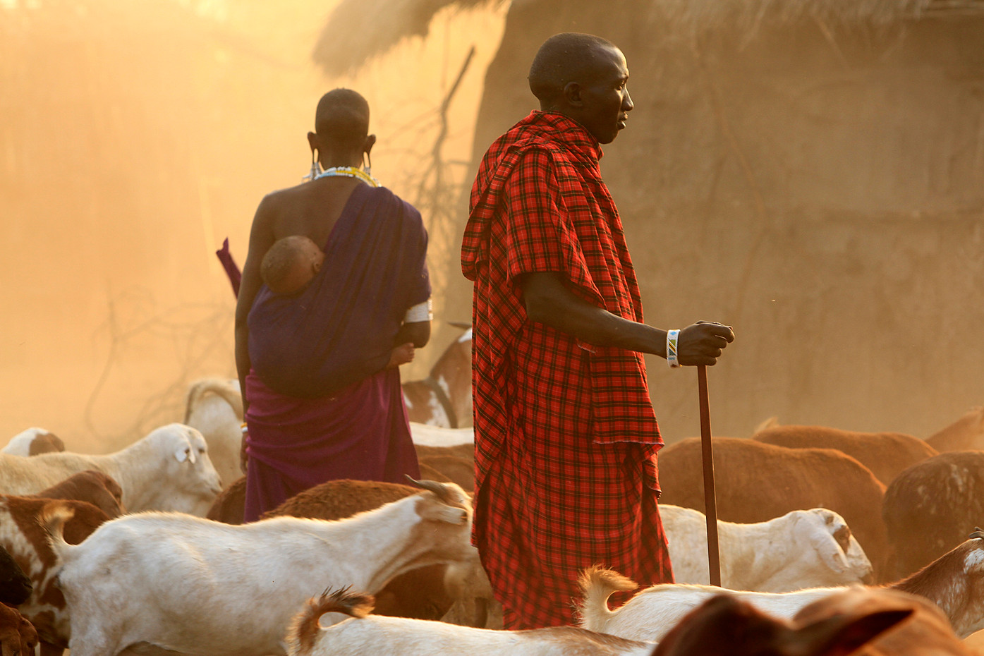 Masai man, woman & baby, Tanzania