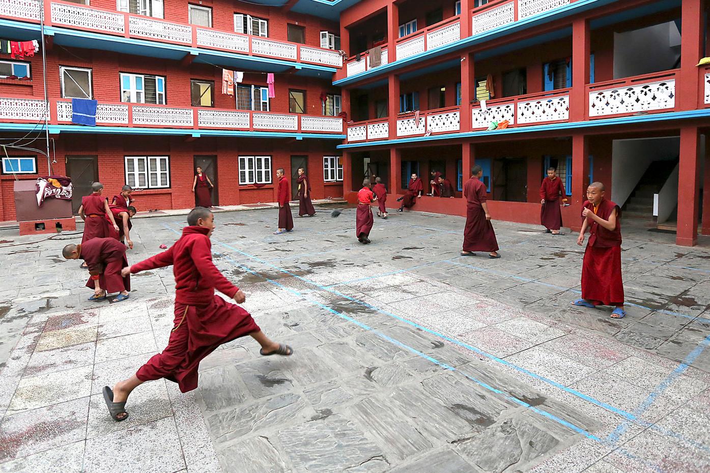 Novice Monks at Sakya Tharig Monastary in Kathmandu, Nepal