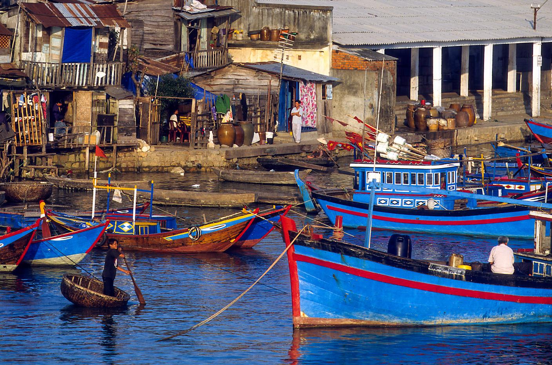 Fishing boats in Nha Trang Harbour, Vietnam