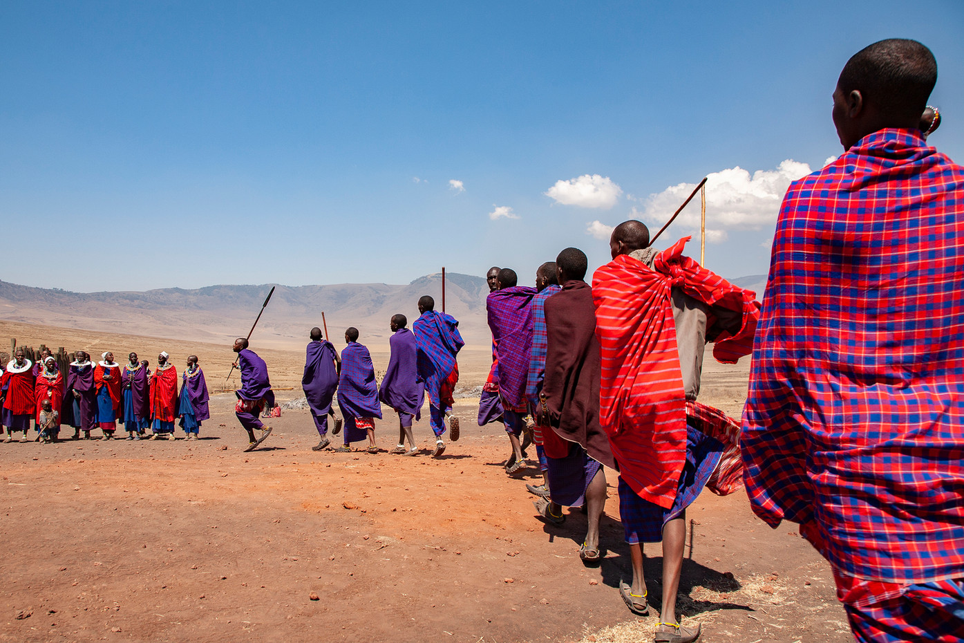 Masai dancing in Ngorongoro Crater highlands, Tanzania