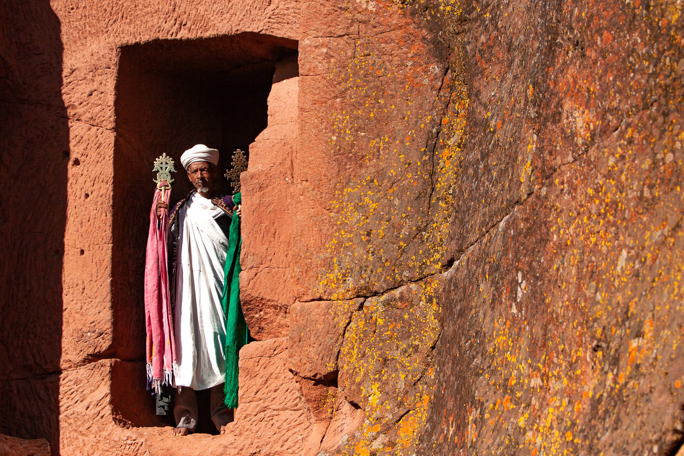 Priest in the rock-hewn churches of Lalibela, Ethiopia