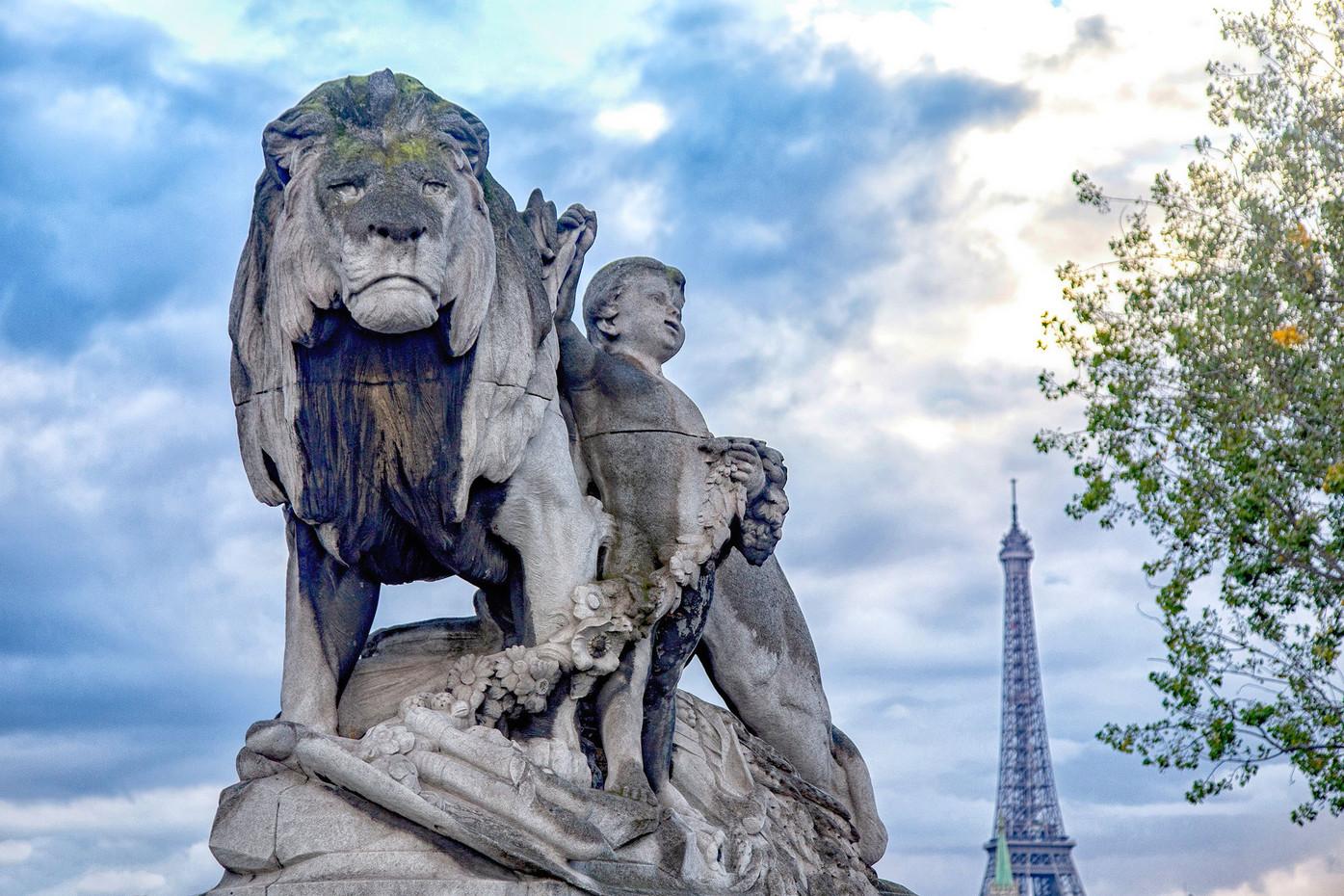 Alexander the III Bridge Statue in Paris, France