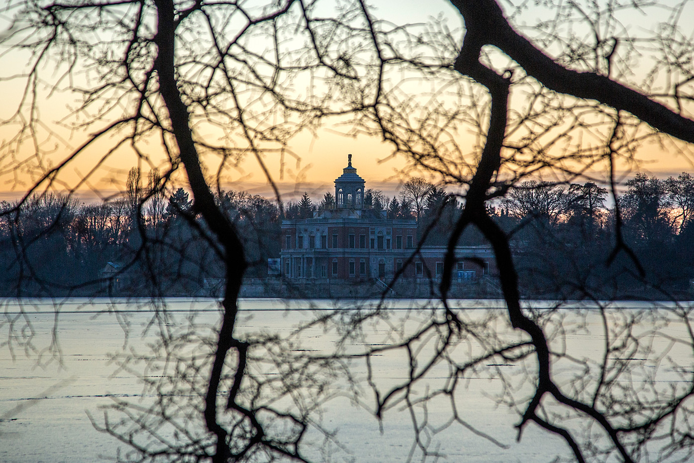 The Marble Palace at sunrise in Potsdam, Germany