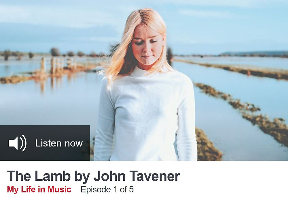 Screenshot of BBC Radio 3's episode entitled The Lamb by John Taverner, overlaid on a picture of Kitty looking downwards on the Somerset Levels
