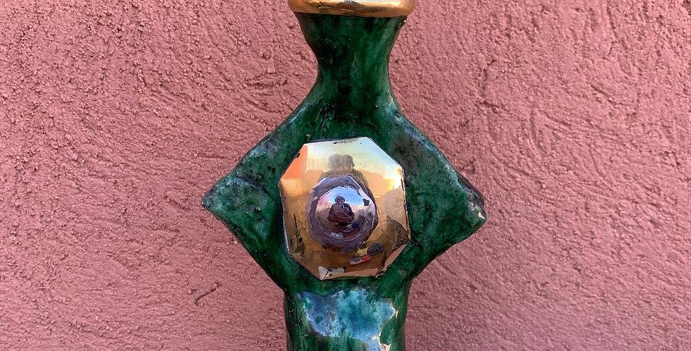 Marokkanischer Kerzenständer von Tamegroute mit Kupferakzenten