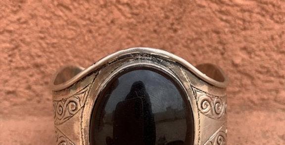 925-er Silber Armreifen aus Tiznit mit Onyx