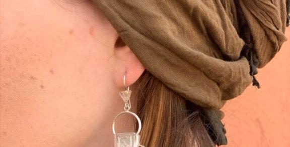 925-er Silber Ohrringe mit Onyx