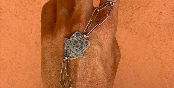 925-er Silber Armreifen mit Ring-Kette