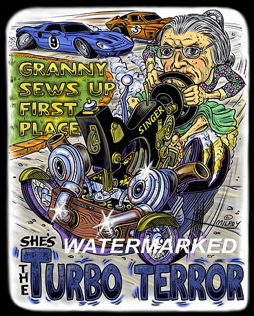 Car Caricature Turbo Sewing Machine on b