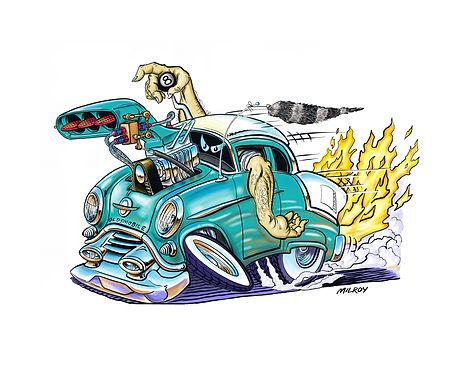 car caricature 54 oldsmobile simplified