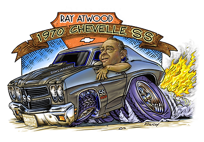 Car Caricature 1970 Chevelle SS Ray Atwo