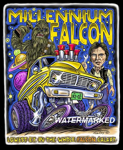 Car Caricature Millennium Falcon print o