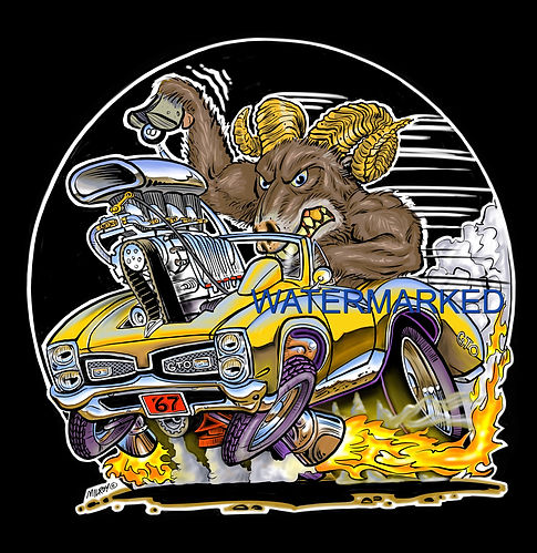 Car caricature 1967 GTO with goat print