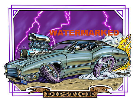 Car Caricature DIPSTICK chopped off flam