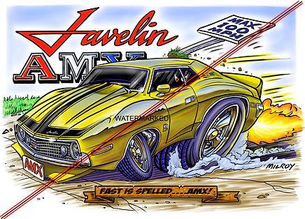 Car Caricature 73 AMX Javelin WATERMARKE