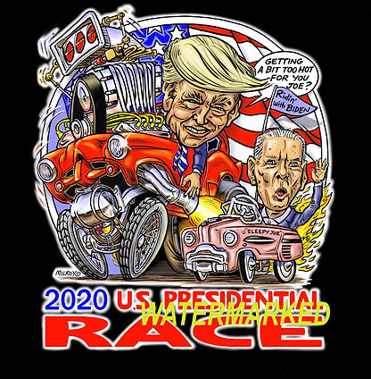 Car caricature Presidential Race on blac