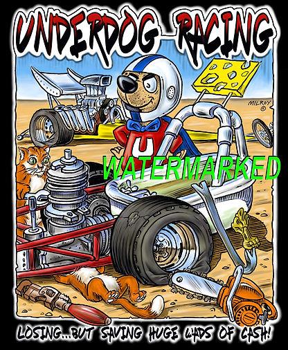 Car Caricatures Underdog Racing on black