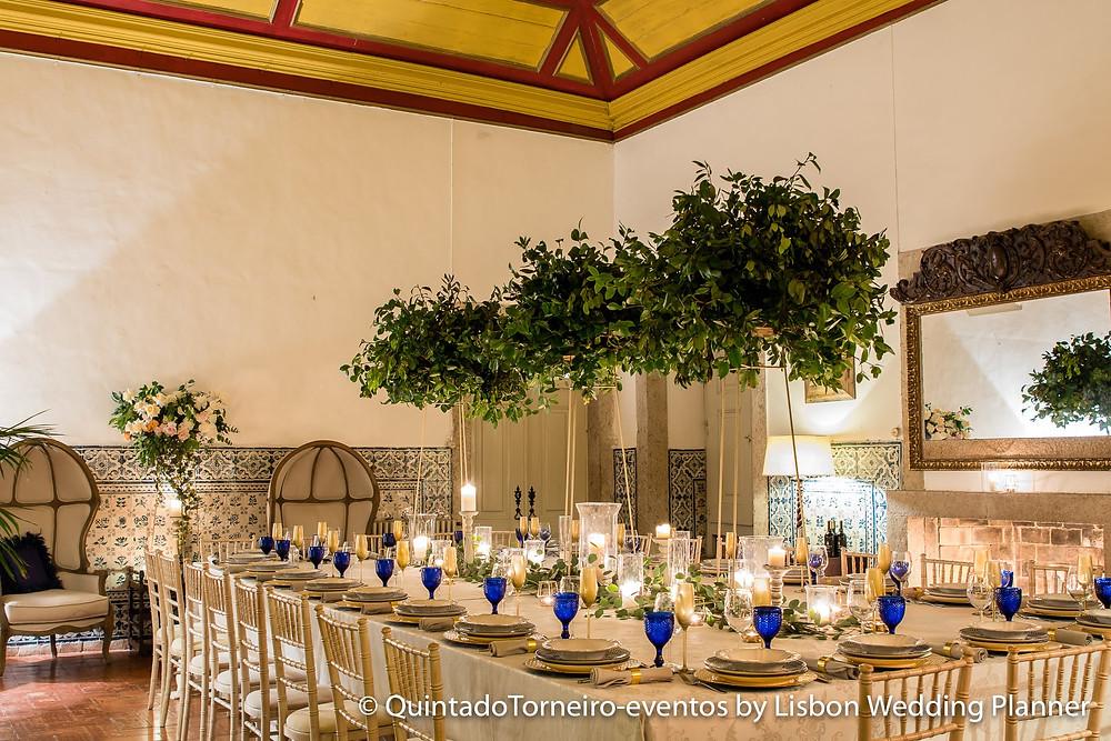 Salao decorado para casamentos na Quinta do Torneiro em Portugal