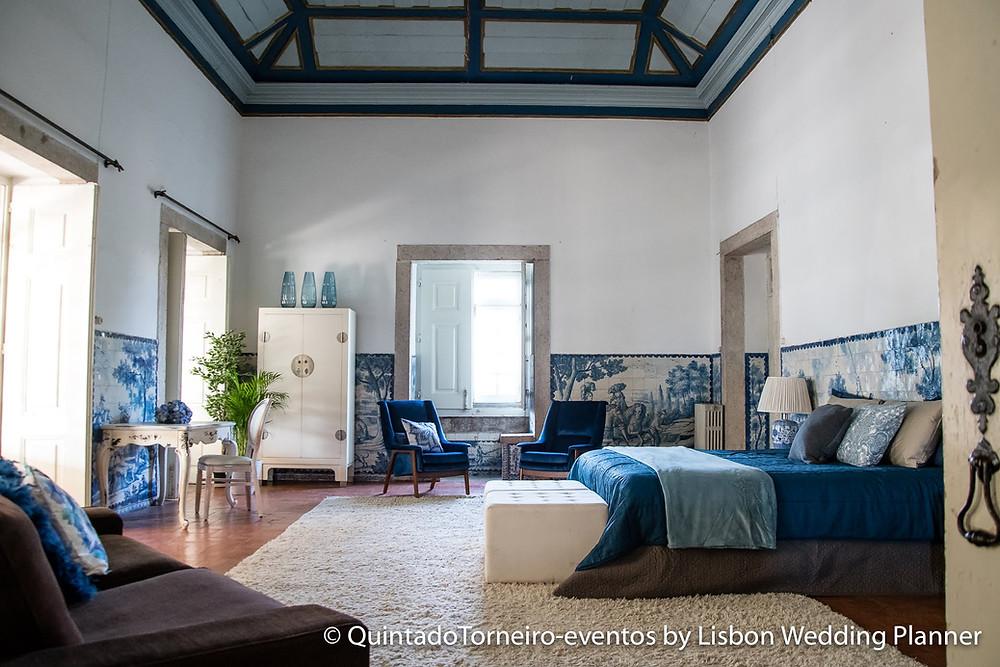 Suíte principal da Quinta do Torneiro para seu destination wedding em Portugal