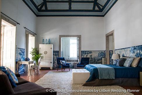 De Master Suite met als hoofdkleur blauw Quinta do Torneiro in Lissabon, Portugal