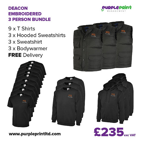 Deacon Embroidered 3 Person Workwear Bundle