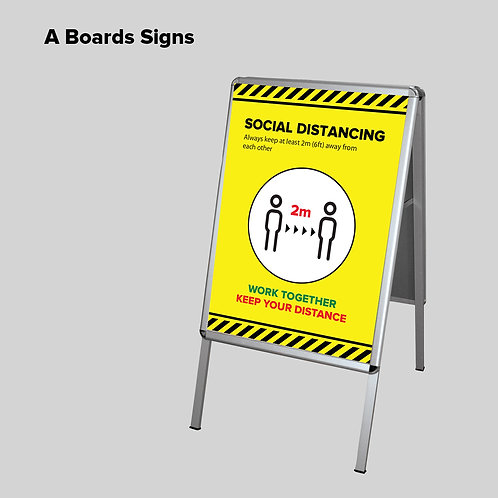 Social Distancing A2 Outdoor Sign Board with Graphics