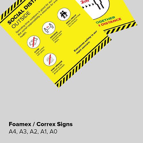 Social Distancing Foamex Signs