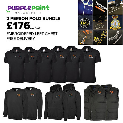 2 Person Polo   Embroidered Bundle