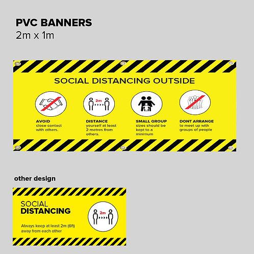 Social Distancing PVC Banner - 2m x 1m