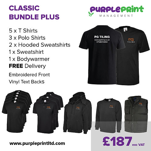 Classic Plus Workwear Bundle - Embroidery Front & Vinyl Text to Backs
