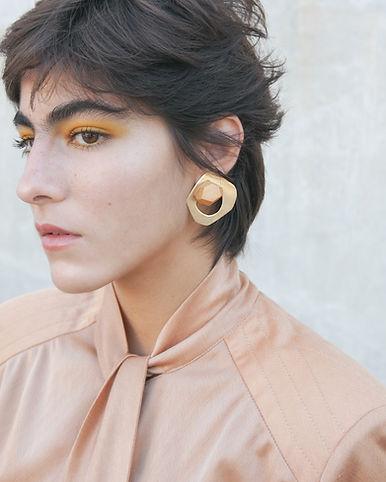 Golden wooden earrings
