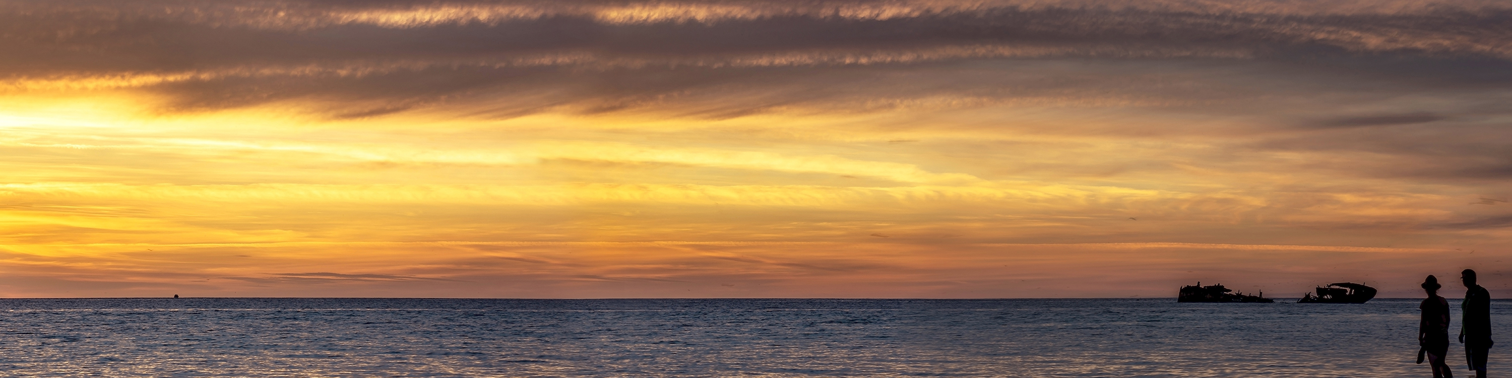 3F Pano Summer Sunset at Heron Island, Great Barrier Reef QLD