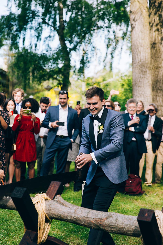 wedding log sawing