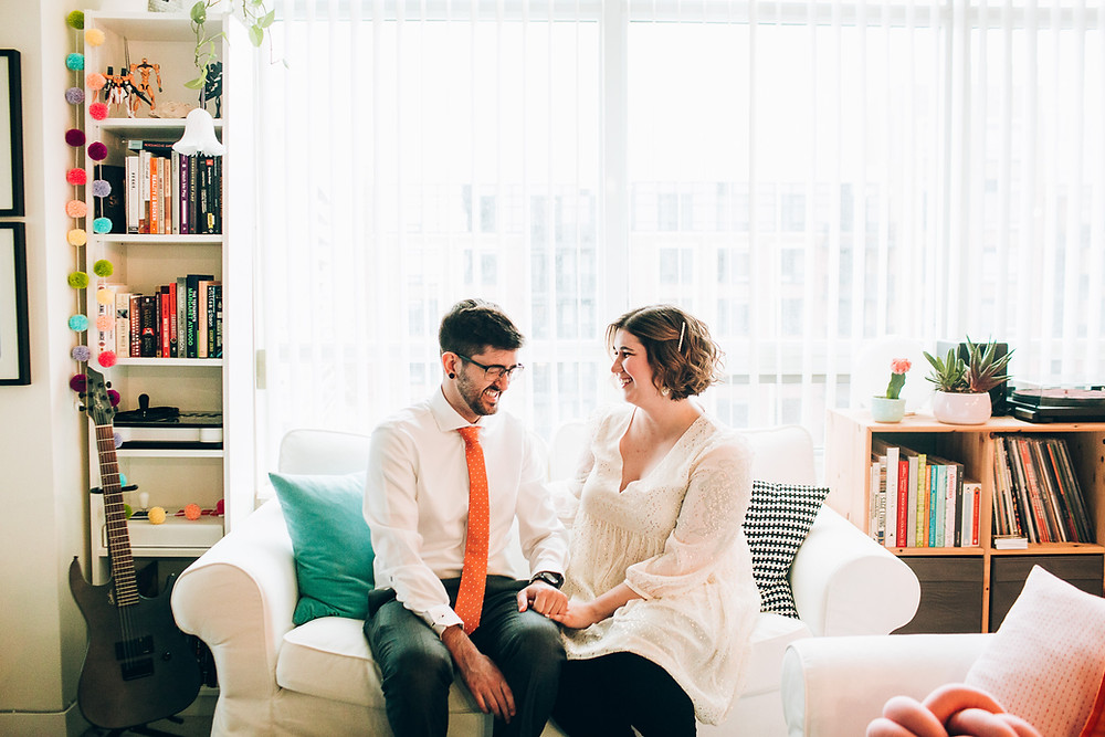 Bride and Groom at home in Toronto before Covid elopement