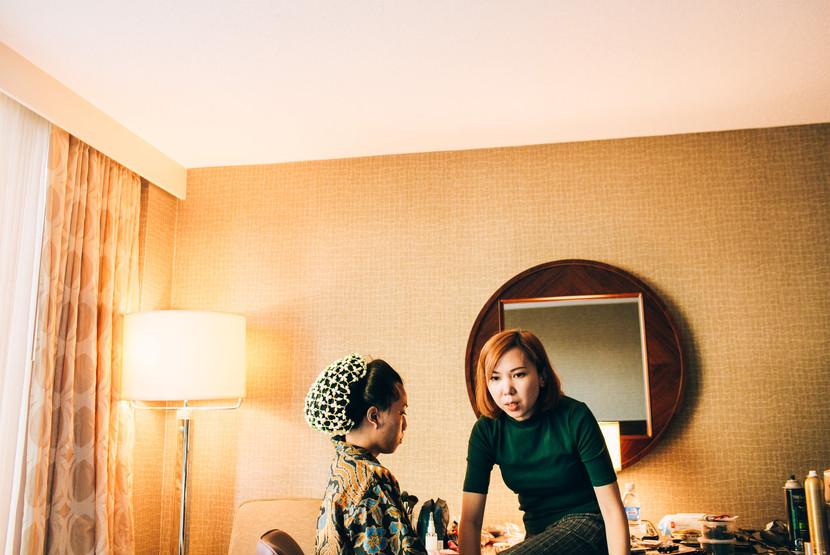 bride wedding ready in hotel room in Toronto