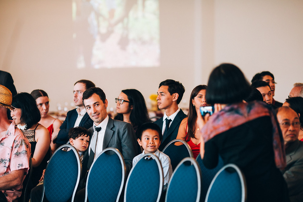 guests wit kids at a wedding