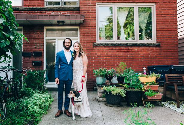 wedding portrait with pet dog