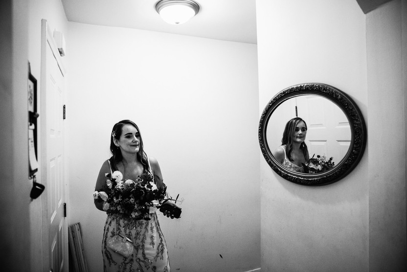 bride at home getting ready