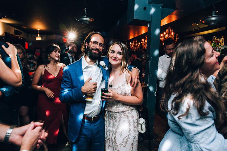 Bar night club wedding bride and groom