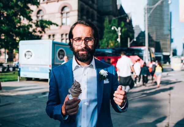 icecream wedding groom portrait