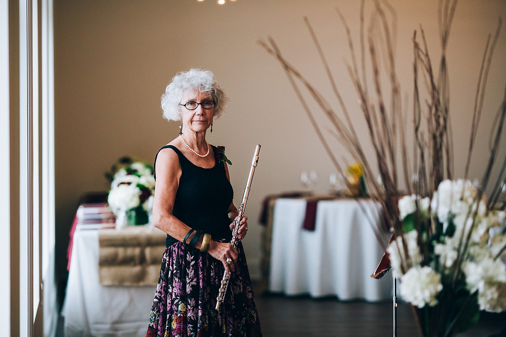female flautist at a wedding