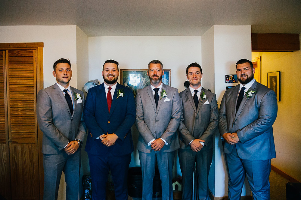 groomsmen at cottage
